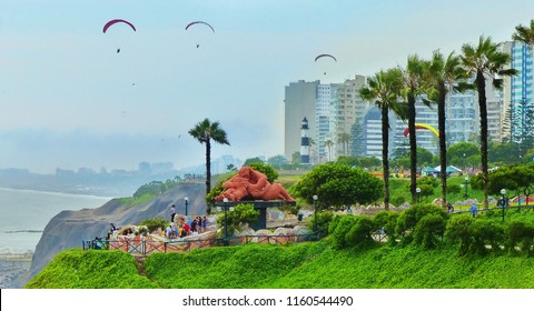 LIMA, PERU – JANUARY 30, 2018: View of Parque del Amor or Park of Love in Miraflores district. Statue El Beso or The Kiss