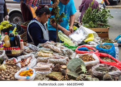 Lima, Peru – July 19, 2014 - Spices and herbs  at traditional street market place