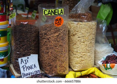 Lima, Peru – July 19, 2014 – spices and herbs for sale  in the street market