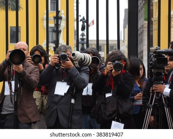 LIMA, PERU - JULY 28: Photographs and local journalists, in the Government Palace, the National Day of Peru, on July 28, 2015 in Lima, Peru.