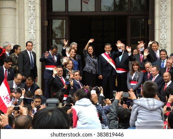 LIMA, PERU - JULY 28: The president of Peru, Ollanta Humala, and ministers, in the Government Palace, the National Day of Peru, on July 28, 2015 in Lima, Peru.