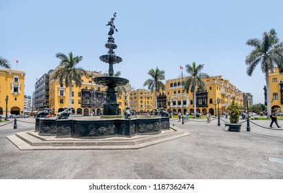 Lima, Peru - March 12, 2017: Plaza de Armas of Lima, Peru