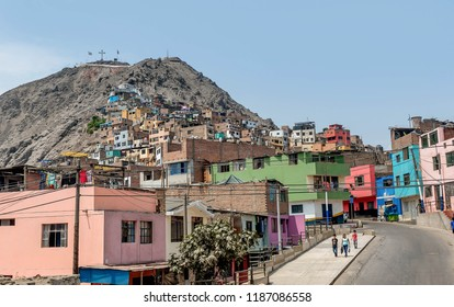 Lima, Peru - March 12, 2017:Cerro San Cristobal slum in Lima, Peru