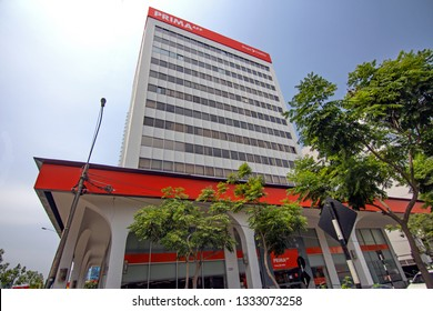 Lima, Peru - March 7 2019: AFP Prima is a Peruvian private sector pension fund manager controlled by financial conglomerate Credicorp, business headquarter in San Isidro, the bank financial district.