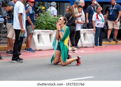 LIMA, PERU - MARCH 8, 2020: Viviane Lyra after crossing the finishing line in first place for the 50km race in the South American Race Walking Championship.