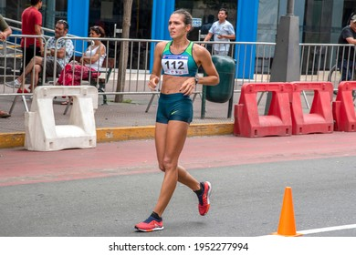 LIMA, PERU – MARCH 8, 2020: Viviane Lyra representing Brazil participates in the South American Race Walking Championship held in Lima, Peru on March 8th, 2020.