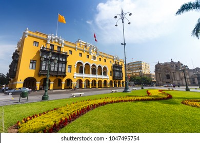 LIMA, PERU: The Municipal Palace of Lima is located in the Historic center f the city