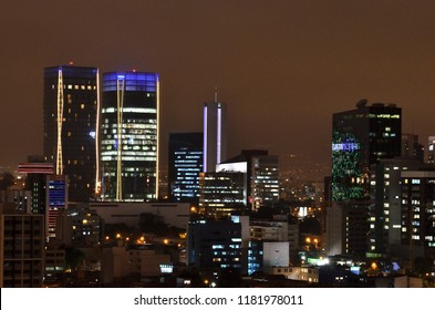 LIMA, PERU: Night cityscape in the district of San Isidro, in Lima, Peru. Winter