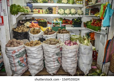 Lima, Peru - Nov 17, 2019: A well stocked fruit and vegetable stall in Lima's Mercado Central