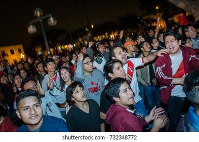 Lima, Peru - OCTOBER 10th 2017: Fanaticism in Peru (Peru vs Colombia) Russia 2018 . The moment Peru scored a goal
