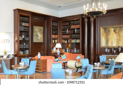 LIMA, PERU - OCTOBER 18, 2015: The afternoon tea area of the Miraflores Park Hotel. The luxury hotel is one of the finest in Lima.