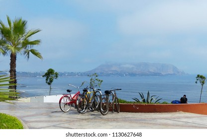 Lima, Peru. Pacific coast view from the park in Miraflores district. Bicycles on the site for rent