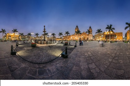 Lima, Peru: Panoramic view of the main square of the city