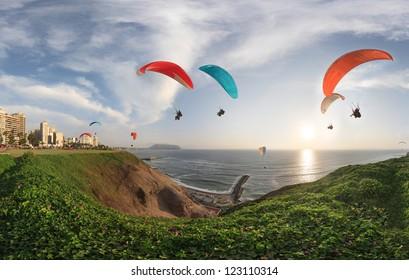 LIMA, PERU: paragliding in Miraflores.