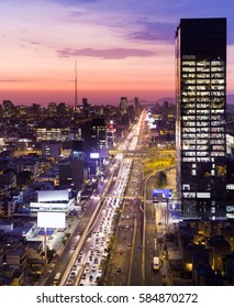 LIMA, PERU: RUSH HOUR AT NIGHT IN JAVIER PRADO AVENUE.