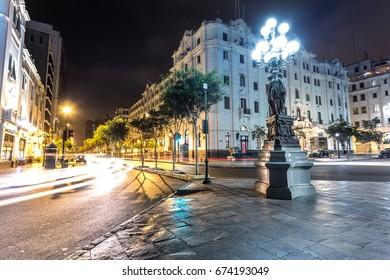 LIMA, PERU: San Martin square at night.