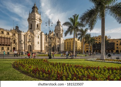 LIMA - PERU: View of the cathedral church and the main square in the down town.