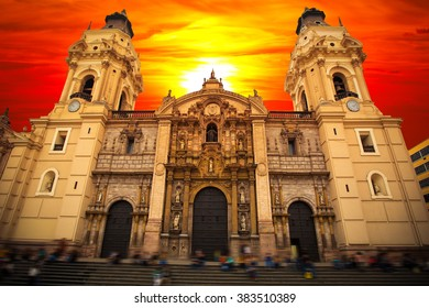 LIMA. PERU. View of the cathedral church and the main square in the down town.