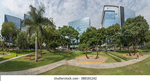 Lima, Peru: A view from a park of the buildings of San Isidro Town.