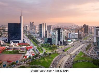 Lima, Peru: view of San Isidro  at Sunset.