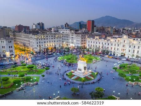 LIMA PERU View San Martin Square Stock Photo (Edit Now ...