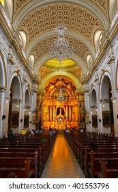 LIMA, PERU-FEBRUARY 2: Interior of Saint Peter Church on February 2, 2015  in Lima, Peru. This church is part of the Historic Centre of Lima, which was added to the UNESCO World Heritage List in 1991.