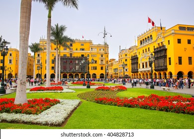 LIMA, PERU-JANUARY 31: Plaza Mayor in Historic Center on January 31,2015 in Lima, Peru. It is surrounded by the Government Palace, Cathedral, Archbishop's and Municipal Palaces and Palace of the Union