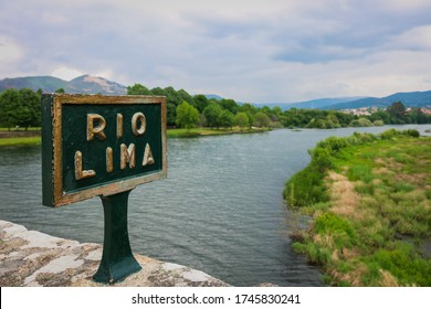 Lima river sign, located in Ponte de Lima city north of Portugal. Located at the Roman bridge.