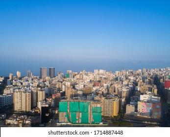 Lima,Lima/ Peru -April 24th 2020: Aerial image of Lima Peru during COVID19 quarantine lockdown.