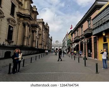 Lima/Peru, November 28 2018: Street near to plaza de armas - central history park