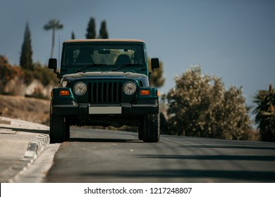Limassol, CY - OCT 14, 2018: Jeep Wrangler JK Unlimited Rubicon Recon is parked near modern house