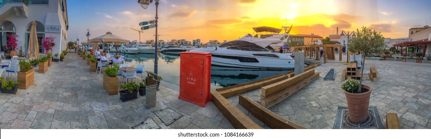 LIMASSOL, CYPRUS - APRIL 2018: Panoramic view of the famous Old Port in Limassol, Cyprus