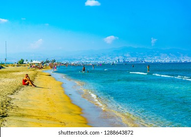 LIMASSOL, CYPRUS, AUGUST 17, 2017: People are enjoying a sunny day on Lady's mile beach on cyprus