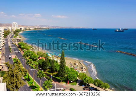 Limassol, Cyprus. Coastline and beach aerial view, and the ships in the sea