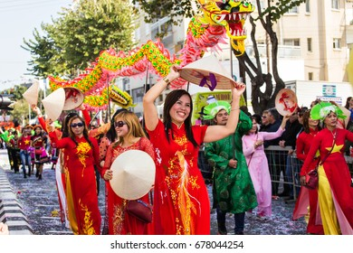 LIMASSOL, CYPRUS - FEBRUARY 26: Carnival parade with colorful costumes, February 26, 2017 in Limassol