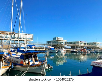 LIMASSOL, CYPRUS - JANUARY 8, 2018: View of the Limassol Old Port with modern restaurants and yachts, Limassol Marina, Cyprus