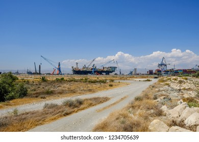 Limassol, Cyprus - June 23, 2018: Castoro Sei, a semi-submersible pipe laying vessel docked in Limassol at the port.  Shot taken on a bright blue sky afternoon.