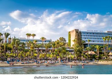 LIMASSOL, CYPRUS - JUNE 24, 2018: Hotels and beach at Limassol coastline.