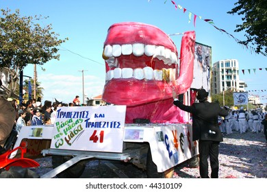 LIMASSOL, CYPRUS - MARCH 1, 2009: Unidentified people in carnival parade.