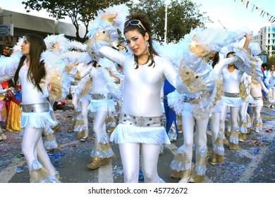 LIMASSOL, CYPRUS - MARCH 1, 2009: Unidentified people in annual carnival parade.