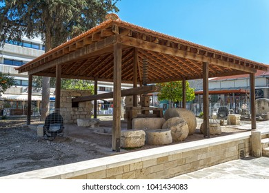 LIMASSOL, CYPRUS - MARCH 11, 2016:Ancient wine press to Limassol castle, Cyprus
