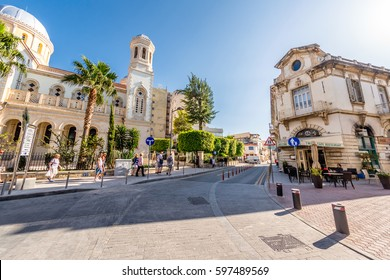 LIMASSOL, CYPRUS - MARCH 18, 2016: Agiou Andreou street, a historic center of Limassol town.