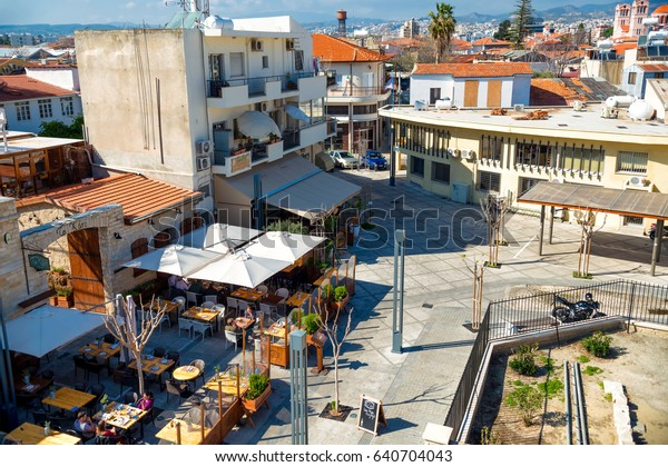 LIMASSOL, CYPRUS - March 18, 2016: Cafes and restaurants at  Limassol castle square.