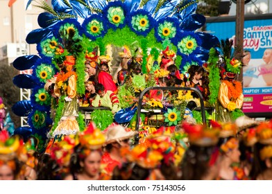 LIMASSOL, CYPRUS - MARCH 6: Unidentified participants in Cyprus carnival parade on March 6, 2011 in Limassol, Cyprus.