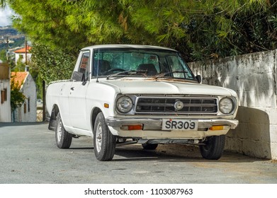 LIMASSOL, CYPRUS - November 24, 2017:  Datsun pickup car parked on a street by the house