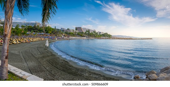 Limassol, Cyprus - October 25 2016: People enjoying the beach on a warm and sunny day at a beach in Limassol