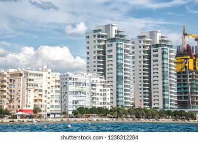 Limassol downtown and apartment buildings at waterfront. Cyprus.