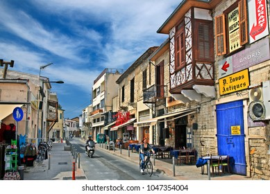 LIMASSOL (LEMESSOS), CYPRUS- April 10, 2017. Picturesque street in the historic center of the town.