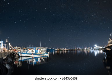 Limassol old port with a sky full of stars