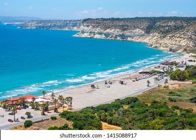 Limassol. Republic of Cyprus. Pathos. The Kourion beach top drone view. The Kourion seaside. Zapallo bay. Episkopi bay. Mediterranean rocky coast. Natural landscapes of Cyprus. Landmarks Limassol.